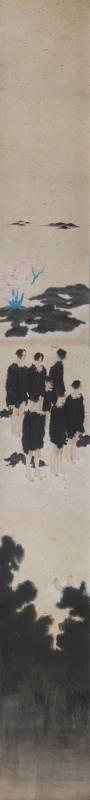 黃向藝《捉迷藏》,2018,紙本設色,245 × 27 cm