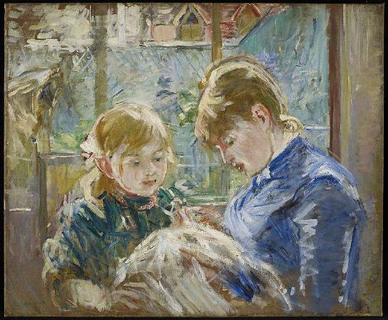 愛德華·馬內《The Artists` Daughter Julie With Her Nanny》,1884。圖/取自Wikipedia。