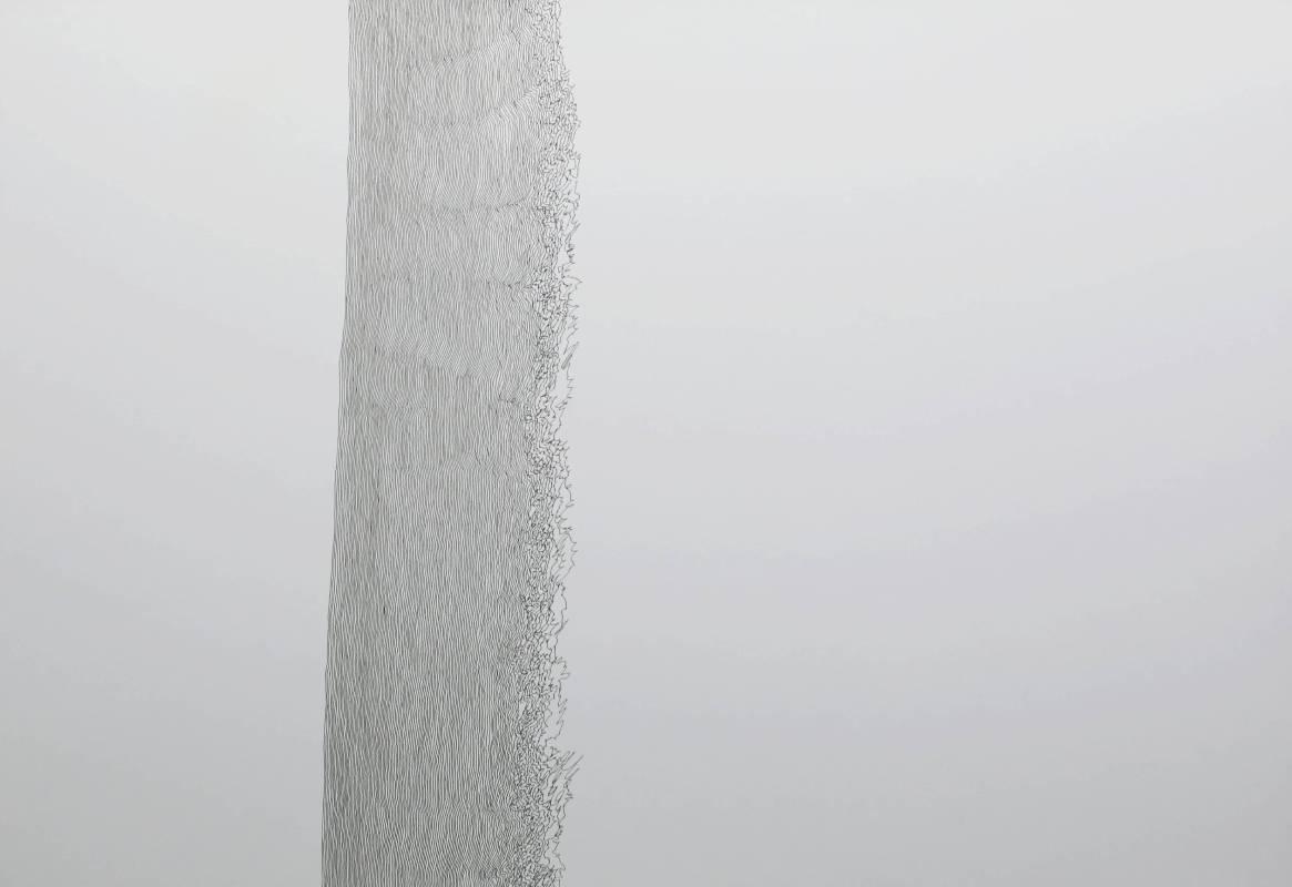 王昱翔, 慣線3, 2016年, 78x55cm, 黑色原子筆.紙