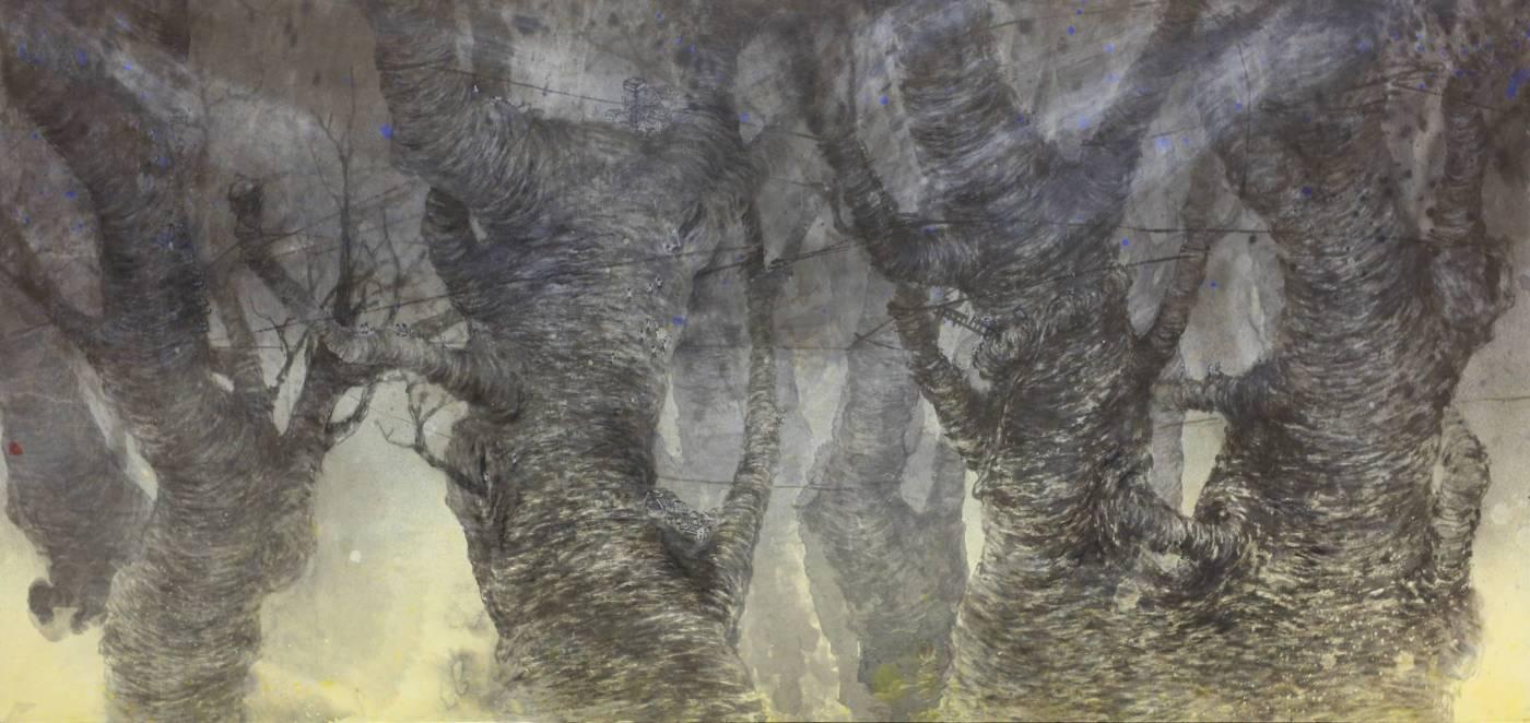 黃郁筑, 在樹梢, 2013年, 85x175cm, 彩墨.紙本