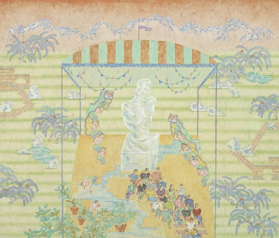 03. 顏妤庭,《賀蘭山下的開幕式》,2016,設色紙本,130 x 153 cm