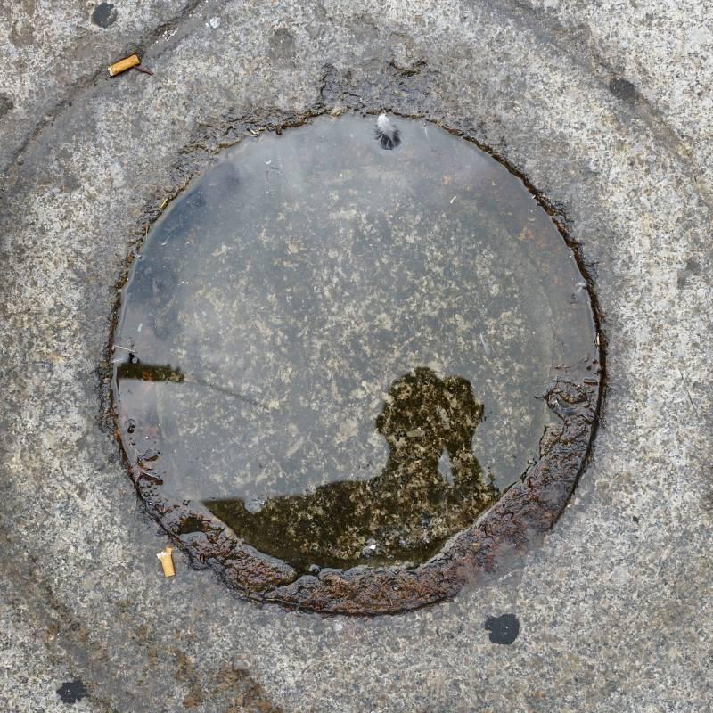 雨水自畫像–2, 76x76cm, 壓克力、微噴於畫布, 2016