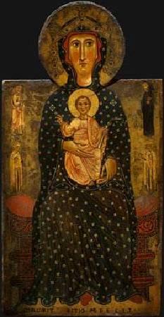 《王座上的聖母子像(局部)》。