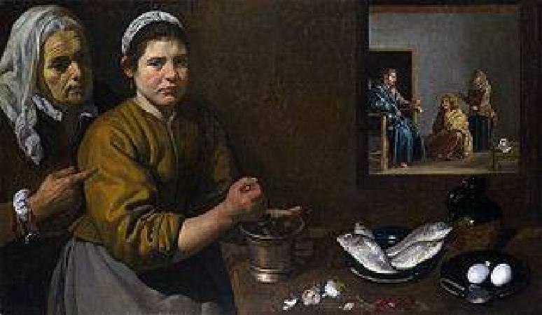 《屋裡馬大和瑪利亞跟基督在廚房的一景》, Diego Velázquez。
