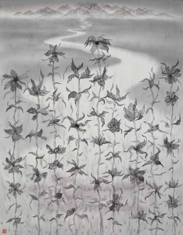 劉信義 Liu Hsin Yi / 疏離的我們都該遙望那遠方的寧靜 We Must Look far away from the Distant Tranquility , 水墨絹本設色 Colored Ink on Silk , 92x72 cm , 2018