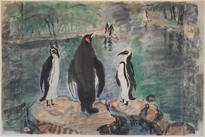 潘玉良,《Penguins; Together with a nude》,1942。圖/取自wikimedia