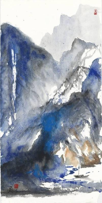 塵三 Chen San / 湛山 Clear Mountain , 水墨紙本設色 , Colored Ink on paper , 38x75cm , 2018