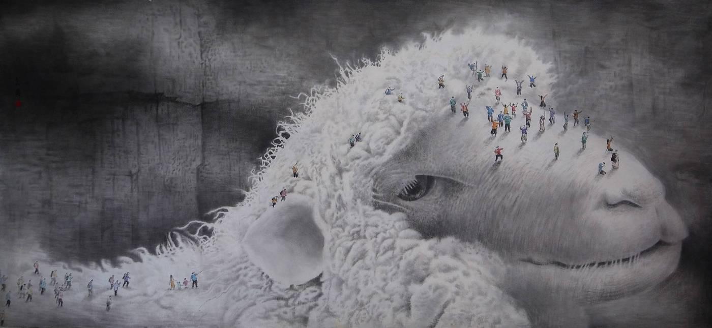 徐嘉霠Hsu, Jia Yin - 潔淨之地 ( 2017  水墨 宣紙  95x215cm ) ( 心動藝術空間 Art Influence )