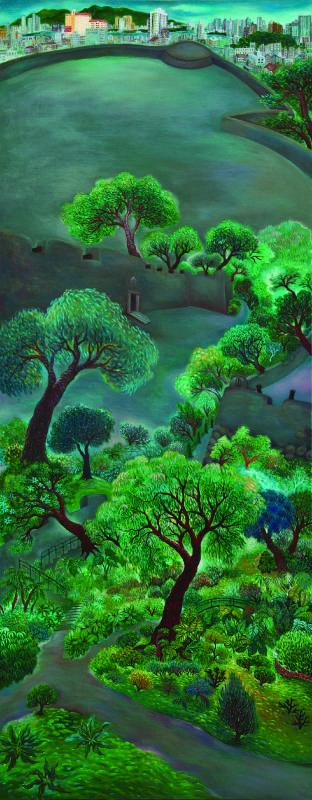 蕭媺《大砲台》,2014,油彩畫布,200x80 cm