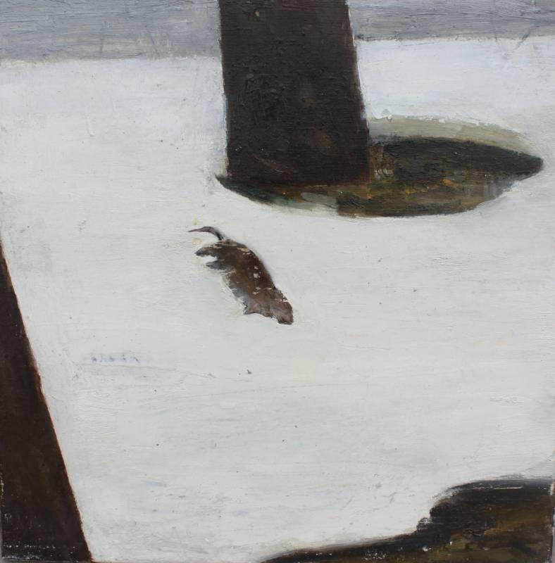 覺佩妤《冬眠-II》,2015,油彩、轉印、木板,45x45 cm