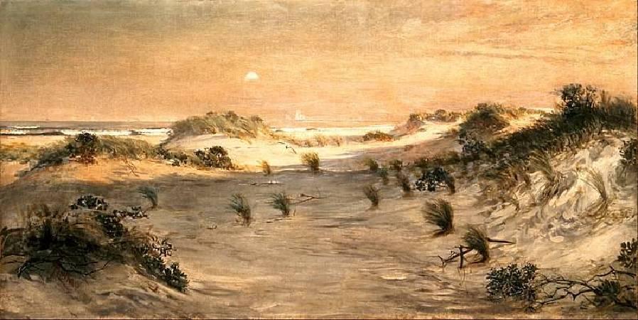 Henry Ossawa Tanner,《Sand Dunes at Sunset, Atlantic City》,1885。圖/取自wikimedia