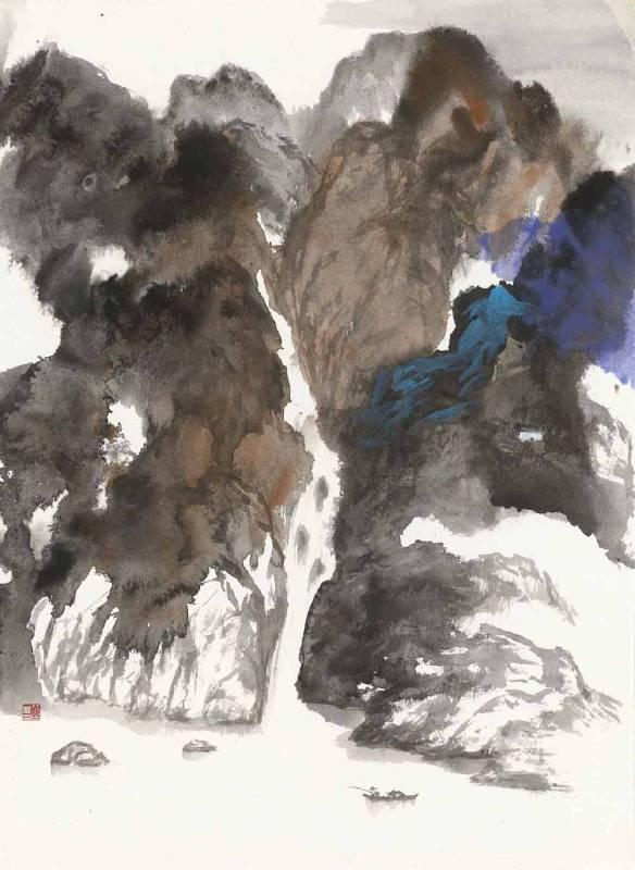 塵三 Chen San / 向流 Streaming , 水墨紙本設色 Colored Ink on paper , 77x55 cm , 2017