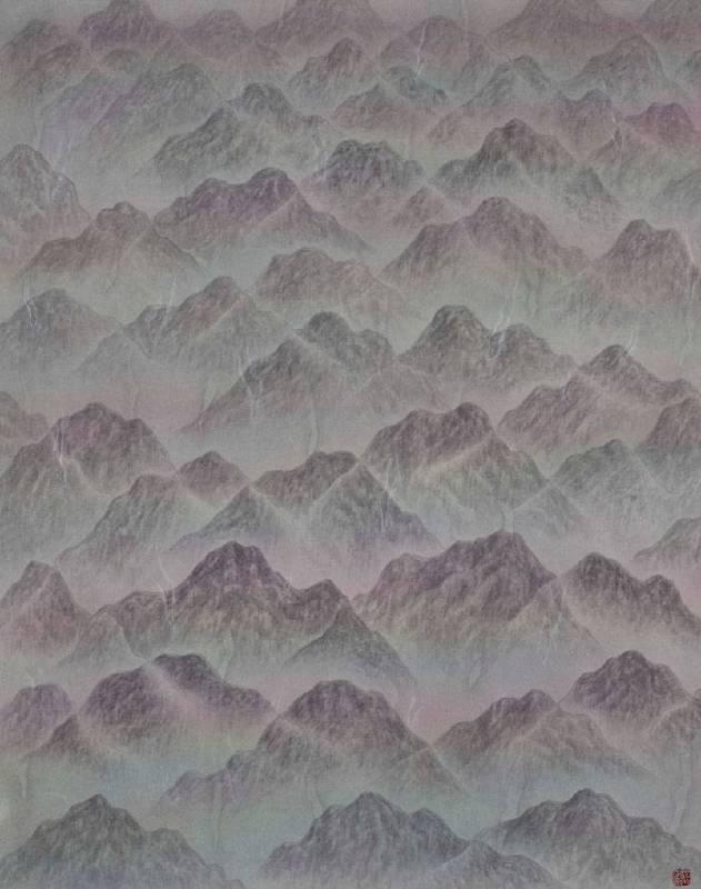 劉信義 Liu Hsin Yi / 群山孤寂   Lonely Mountains , 水墨絹本設色Colored ink on silk , 36x45 cm  , 2018