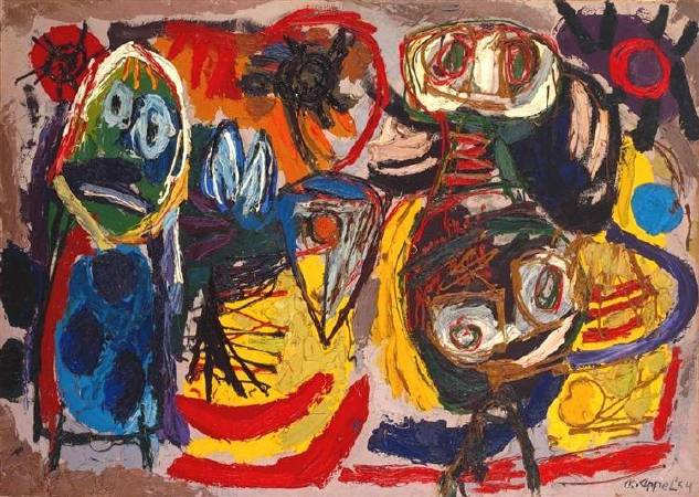 Karel Appel,《People, Birds and Sun》,1954。圖/取自Wikiart。