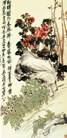 《牡丹水仙圖》,吳昌碩,Image from https://zh.wikipedia.org/wiki/%E5%90%B3%E6%98%8C%E7%A2%A9