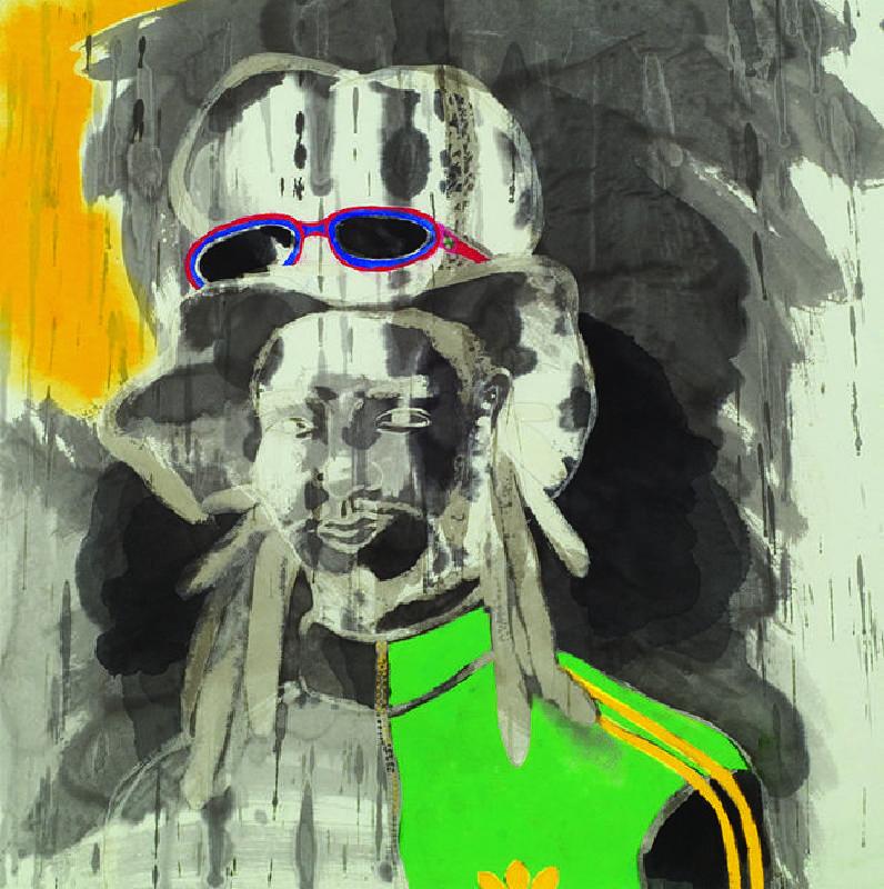 黃婉玲_雷鬼男Reggae Boy_72x72 cm_墨汁、京和紙、壓克力、牛三千本膠_2008