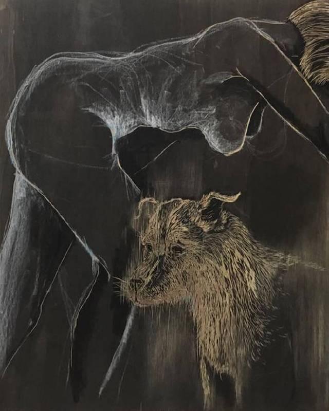 趙曼妮_女人與我的狗_夾板、墨水、粉臘筆_120x150 cm_2017