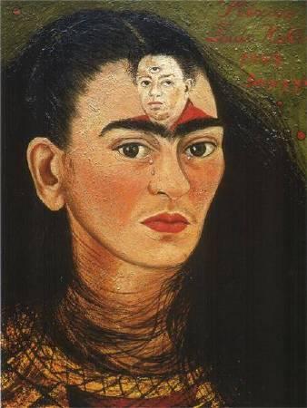 Frida Kahlo,《Diego and I》,1939。圖/取自 wikiart。