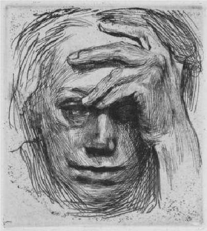 Käthe Kollwitz,《Self-Portrait with Hand on the Forehead》,1910。圖/取自 wikiart。