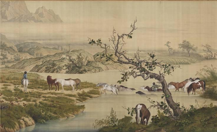 郎世寧,《百駿圖》(局部一),卷,絹本設色,94.5x776cm。圖/故宮博物院。