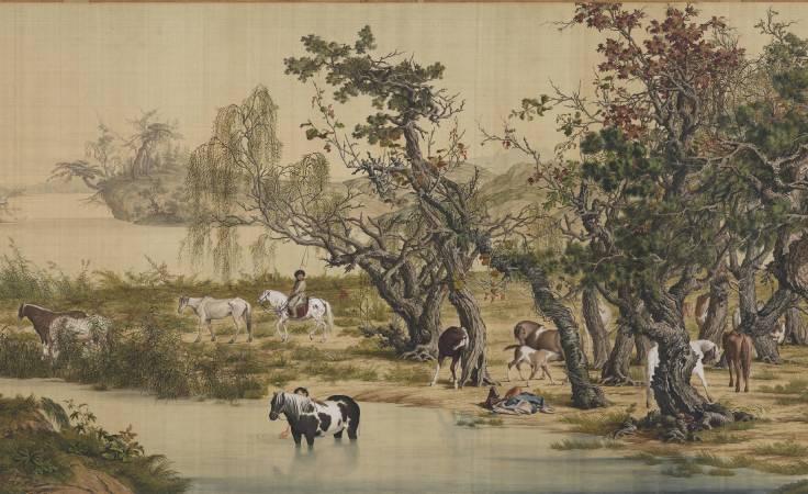 郎世寧,《百駿圖》(局部二),卷,絹本設色,94.5x776cm。圖/故宮博物院。