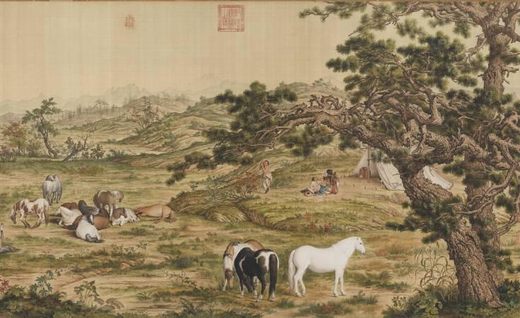 郎世寧,《百駿圖》(局部五),卷,絹本設色,94.5x776cm。圖/故宮博物院。