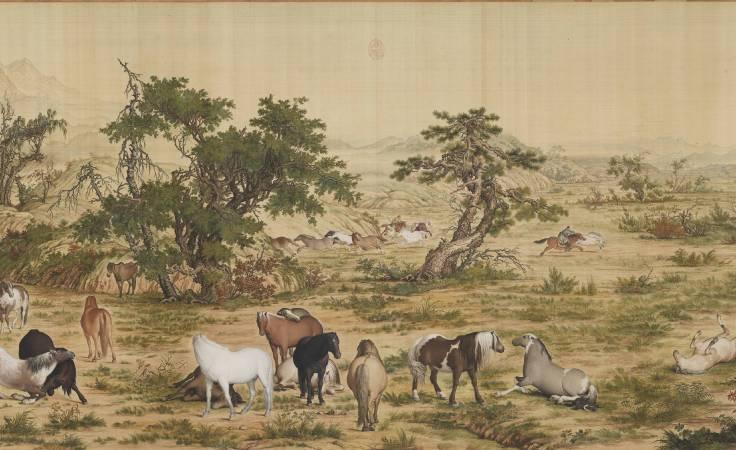 郎世寧,《百駿圖》(局部四),卷,絹本設色,94.5x776cm。圖/故宮博物院。