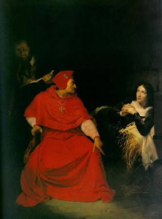 Paul Delaroche,《The Sick Joan of Arc is Interrogated in Prison by the Cardinal of Winchester》,1824。圖/取自wikimedia。