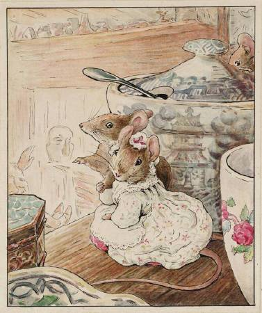 Beatrix Potter,《The Mice Listen to the Tailor's Lament》,1902。圖/取自wikiart。