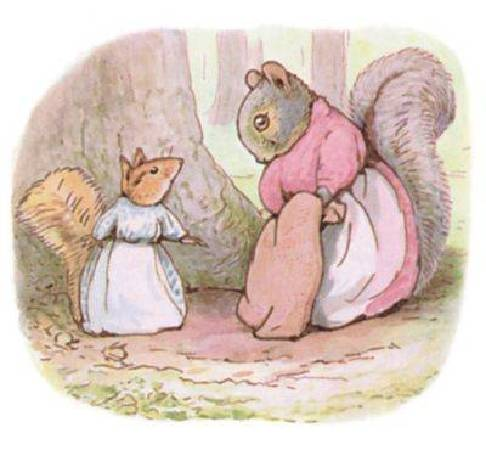 Beatrix Potter,《Goody and Mrs. Hackee》,1911。圖/取自wikiart。