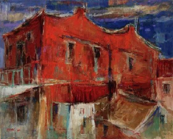 陳銀輝,《紅牆》,1980。圖/臺北市立美術館
