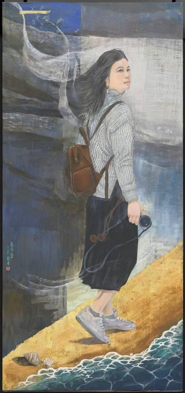 羅宇均, 《眷戀 風中》,膠彩/ 138 x 65 cm