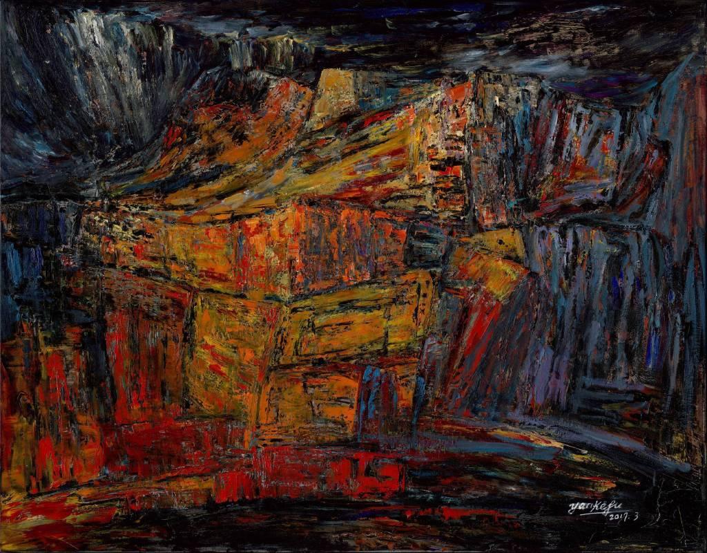 顏柯夫Kevin Yan| 紅色巨石 Red Romance | 116.5 x 91 cm (50F) | 油畫 oil on canvas| 2017