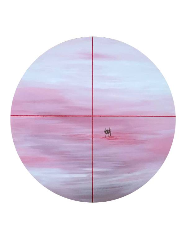 陳依純 孤獨的戰役-奮戰一擊 2018 壓克力、畫布 直徑50cm