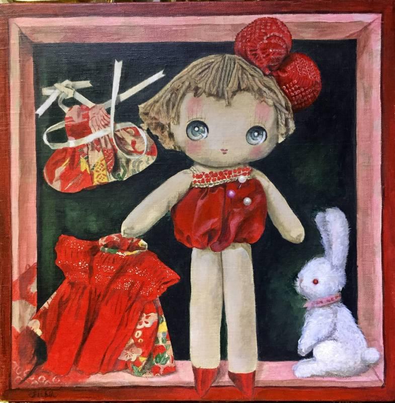 換裝小MIYO 橫山佳子27.5X27.5cm 油畫