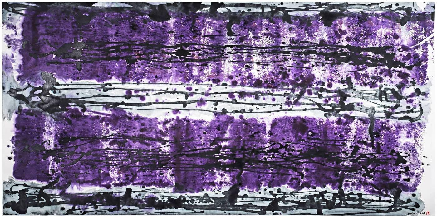 紫砂相映   2008 混合媒材紙上69X138cm