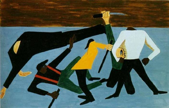 Jacob Lawrence,《The Migration of the Negro, Panel 52》,1941。
