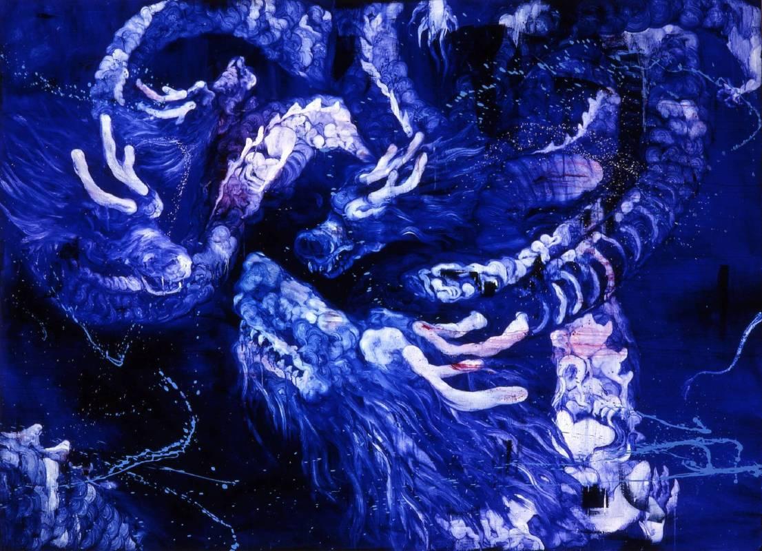 五花肉系列-肉花鳥-龍昇圖 2009 油彩 200x146cm