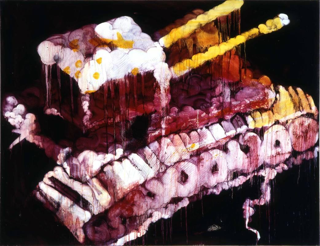 五花肉系列-肉兵器-雙管坦克|2007|油彩|80F