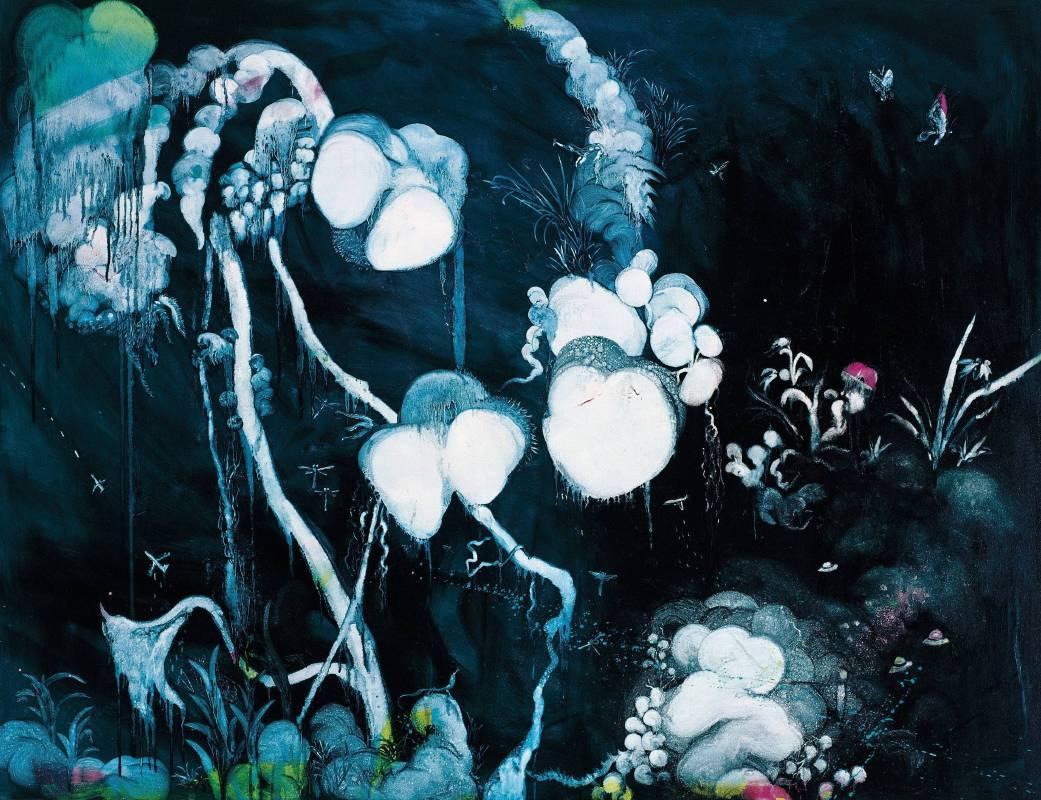 五花肉系列-肉花鳥-野放蘭|2007|油彩|80F