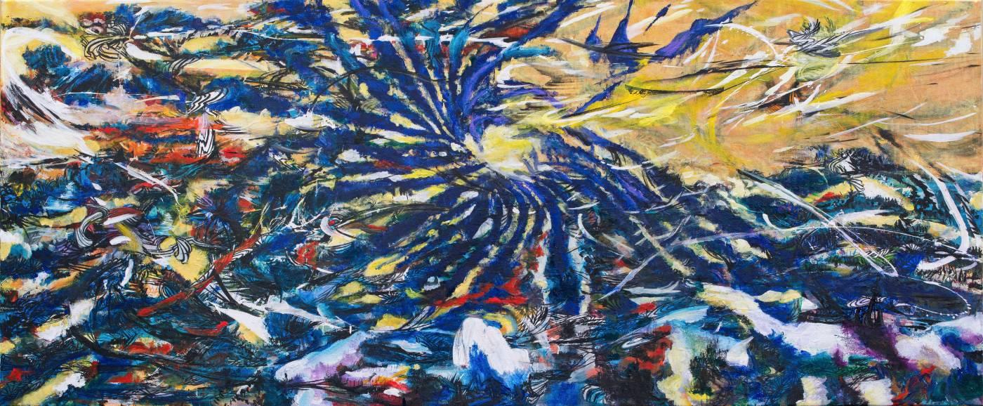王淑鈴,吟唱的河流5,壓克力、油彩、畫布,100x250cm,2017-18。