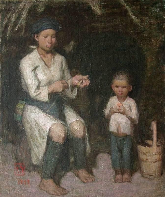 孫見光,搓線婦女。圖/雅逸藝術中心提供