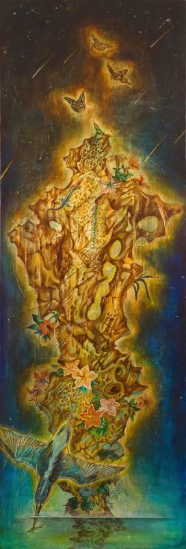 吳承翰 │ 熠熠 II │ 180 x 60cm  │ 壓克力彩 畫布 │ 2015。圖/亞米藝術提供