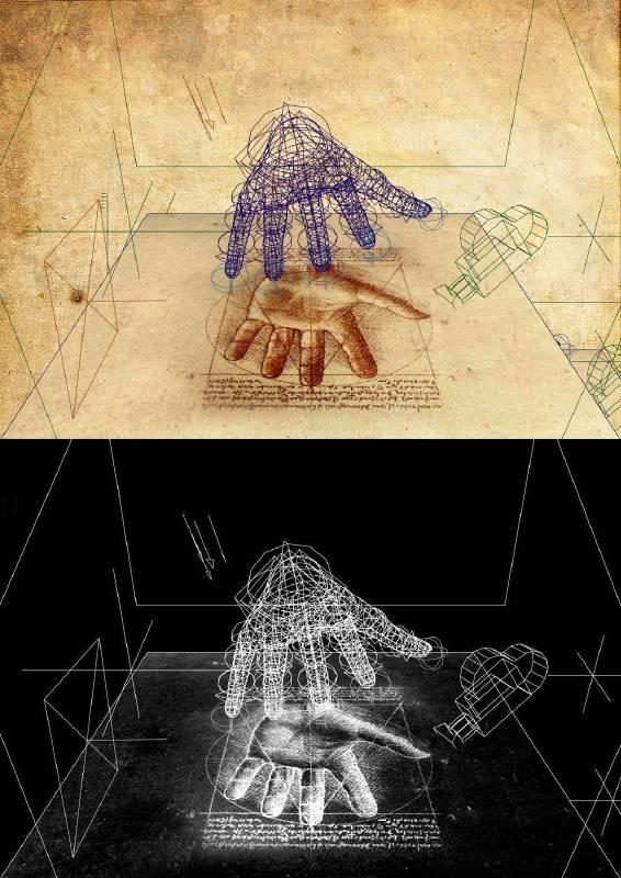 林珮淳,夏娃克隆創造文件-手部III,2017,數位版畫、手繪線條,77.7x55cm。圖/尊彩藝術中心提供