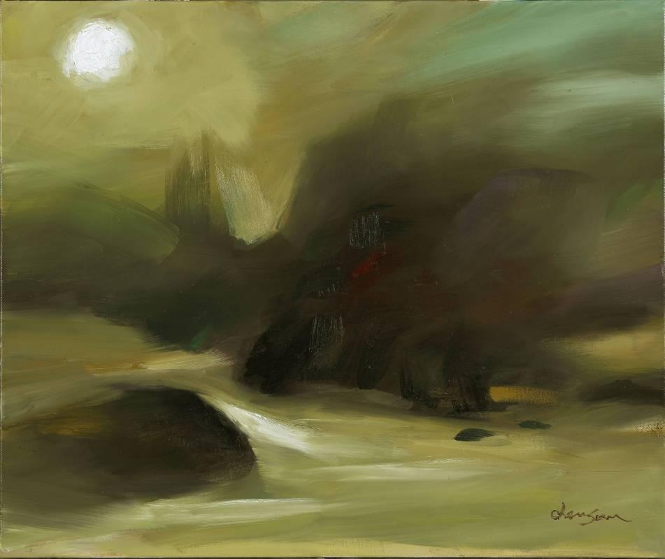 塵三 / 昇陽 Rising Sun,油畫 Oil on canvas,60.5x72.5 cm,2015。圖/穎川畫廊提供