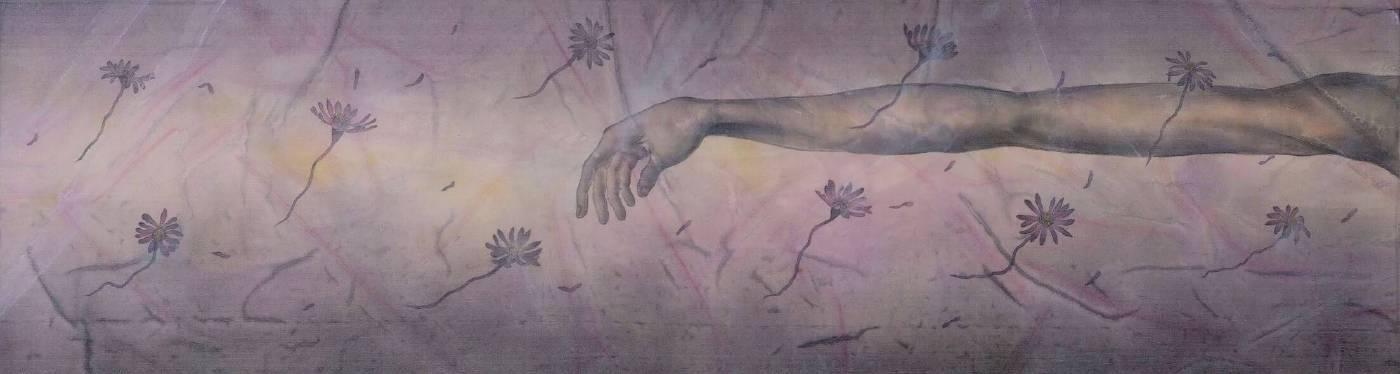 劉信義 / 遙想 Thinking,水墨絹本設色 Colored ink on silk ,22x85 cm , 2013。圖/穎川畫廊提供