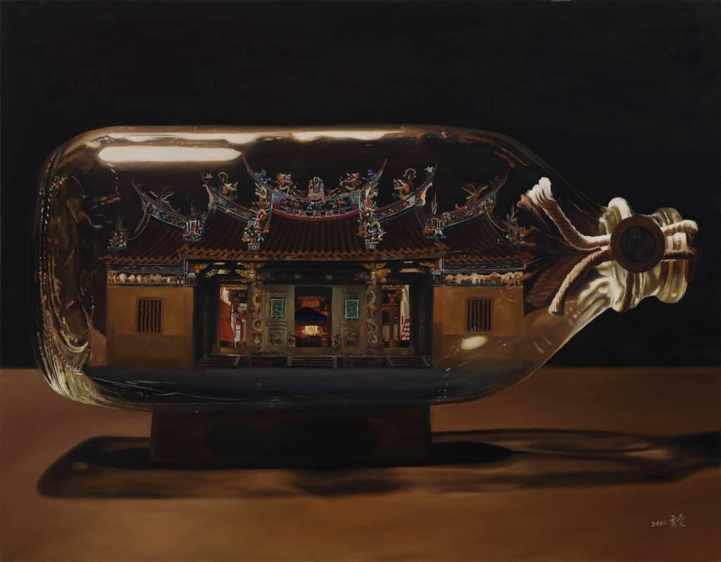 陳秀雯   保瓶系列-新竹北埔慈天宮(二)  油彩畫布   116.5x91cm   2010