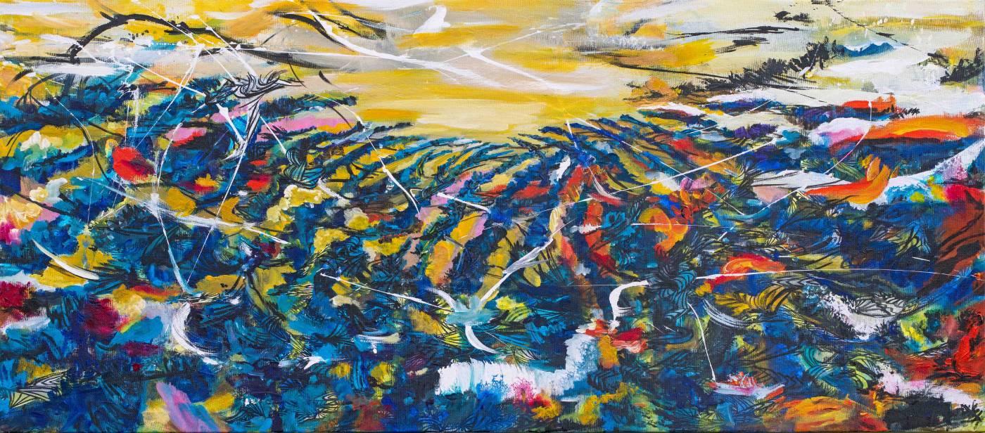 吟唱的河流4, 2017-18, 82x185cm, 壓克力、油彩、畫布