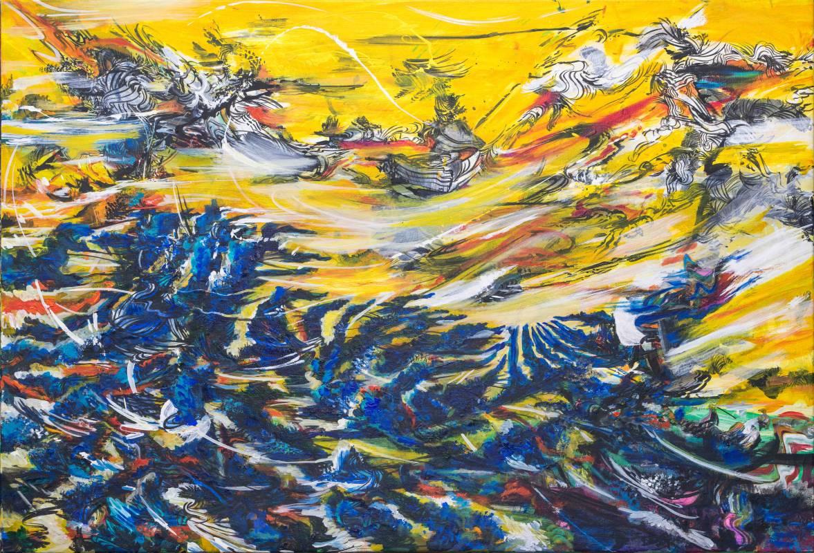 吟唱的河流6, 2017-18, 106x152cm, 壓克力、油彩、畫布