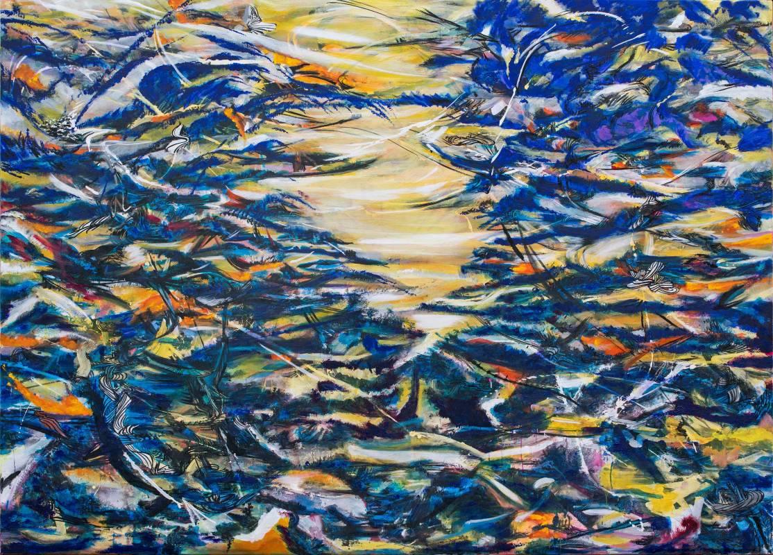 吟唱的河流8, 2017-18, 200x280cm, 壓克力、油彩、畫布